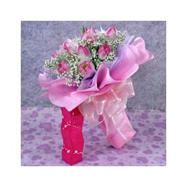 10 2-tone Pink Tulips Handbouquet