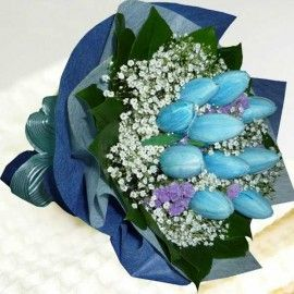 10 Blue ( Dyed Color ) Tulips Hand Bouquet