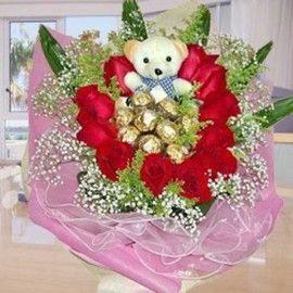 11 Red Roses with 9 Ferrero Roche and Bear Handbouquet