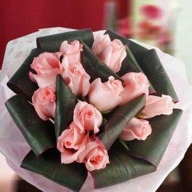 12 Peach Roses w/Foliage Hand Bouquet