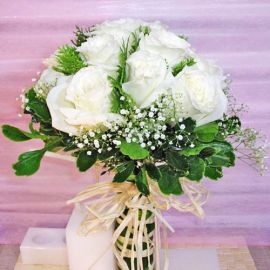 12 White Roses Bridal Bouquet