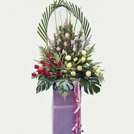 36 Mixed Roses Grand Opening Stand Arrangement Delivery In Singapore