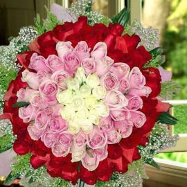 99 Roses ( 15 white 35 peach 49 Red ) Hand bouquet