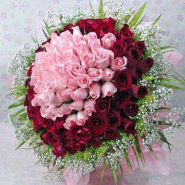 99 Roses ( 39 Peach 60 Red ) Handbouquet