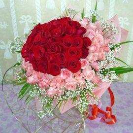 99 Roses ( 50 Red 49 Peach ) Handbouquet