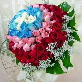 99 Roses ( 5white 20blue 33Peach 41red ) Hand bouquet