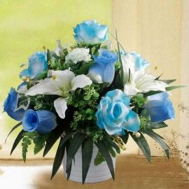 Artificial Blue Roses with White Lily All-Round Arrangement