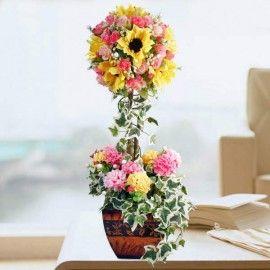 Artificial Flowers Topiary Arrangement