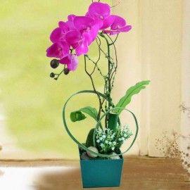 Artificial Purple Phalaenopsis Orchid Arrangement in Green Plast