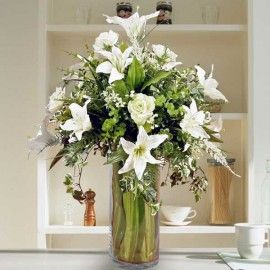 Artificial White Lilies & Roses In Glass Vase Table Arrangement