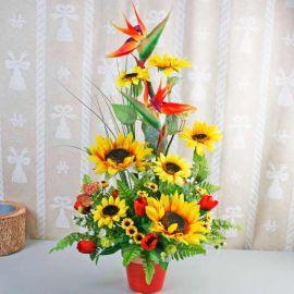 Artificial Sun Flowers Arrangement Delivery. ( Vase might not be