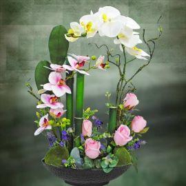 Artificial Phalaenopsis Orchid Table arrangement.