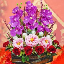 Artificial Peony & Orchids Flowers Arrangement