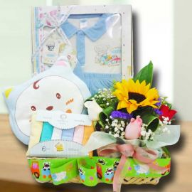 Baby Boy & Sunflower Gift Basket Hamper