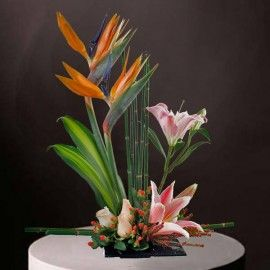 Bird of paradise & Lily Table Arrangement