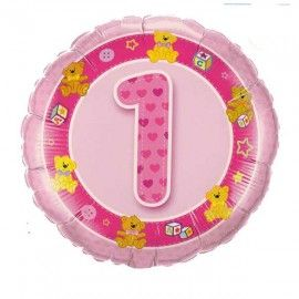 Add On Teddies (Pink) Baby 1st Birthday Balloon