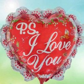 Add On PS I Love You Balloon (Red, Heart-Shaped)