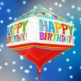 Add-on Helium Rhombus Shape( Diamond Shape ) Birthday Foil Balloon 50cm Height