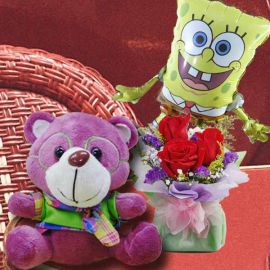 18cm Bear with 3 Red Roses