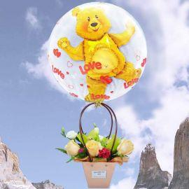 Hot Air Balloon (3D) With Flowers Arrangement