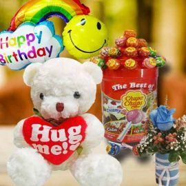 20cm Bear with Lollipop Candies With Blue Rose & Birthday Balloon.