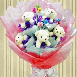 "5 Mini-Bear ( 4"" ) With Star Tags Hand Bouquet"