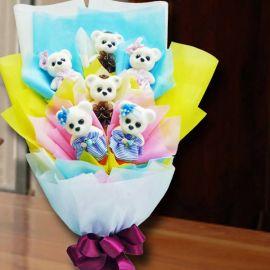 6 Mini 10cm Bear Hand Bouquet