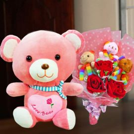 3 Artificial Roses & 3 Mini Bear Bouquet With 30cm Pink Bear