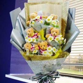 6 Mini 12cm Bears & Artificial Flowers Bouquet