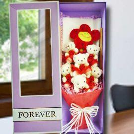 6 Mini Bear (10cm) Hand Bouquet in Gift Box