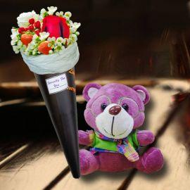 15cm Bear with Ice Cream Cone Rose Bouquet