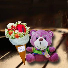 18cm Bear with Ice Cream Cone Rose Bouquet