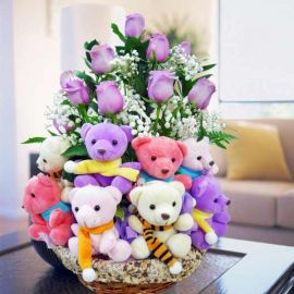 12 Purple Roses With 20 Mixed Color Bears In a Basket