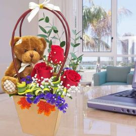Bear & Roses in Paper Bag Flower Box with Handle