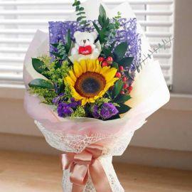 Sunflower with Bear Handbouquet