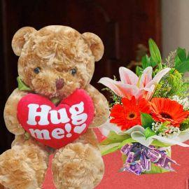 20cm Bear & Mixed Flowers Standing Bouquet