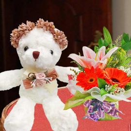 20cm Bear With Flower Crown & Mixed Flowers Standing Bouquet