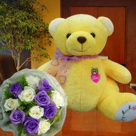 30cm Bear with 6 White & 6 Purple Roses HandBouquet