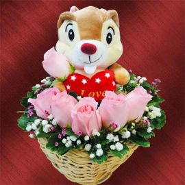 6 Peach Roses Arrangement , 16cm Stuffed Squirrel Sitting On Top.