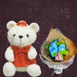 25cm Bear With 3 Blue Roses Hand Bouquet.