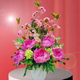 Artificial Peony all round arrangement