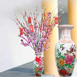"""6 Ft Pussy Willow In 24"""" Height China Vase"""