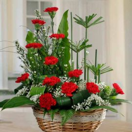 12 Red Carnation Flowers Table Arrangement.