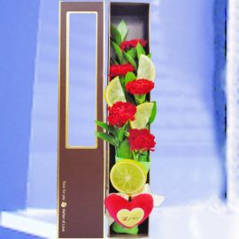 5 Red Carnations in Gift Box With Mini Heart Pillow (Love)