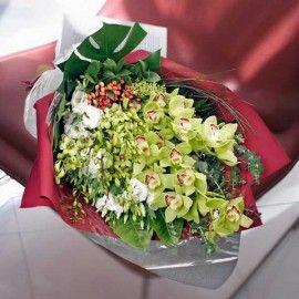 Cymbidium Orchids Long Hand Bouquet