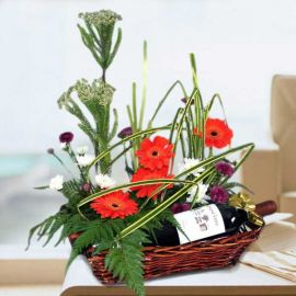 Red Wine with Orange Gerbera Arrangement
