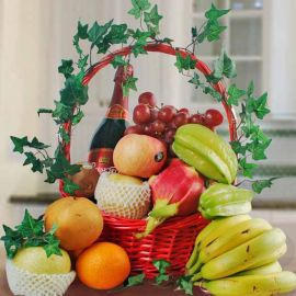Mixed Fruits and Sparkling Grape Juice Basket