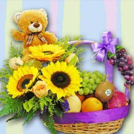 SunFlowers, Mixed Fruits & Bear Basket Arrangement