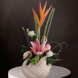 Fresh Flowers Small Arrangement in Swan Vase