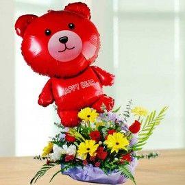 Beary Glow Flowers Basket Arrangement